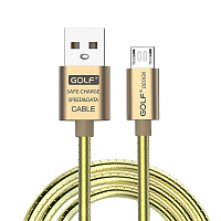 Дата-кабель Gilt USB - Micro USB Golf, золотой)